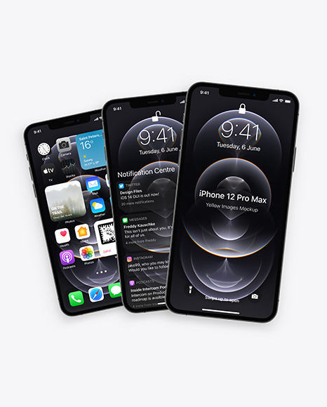 Three Apple iPhones 12 Pro Max Graphite Mockup