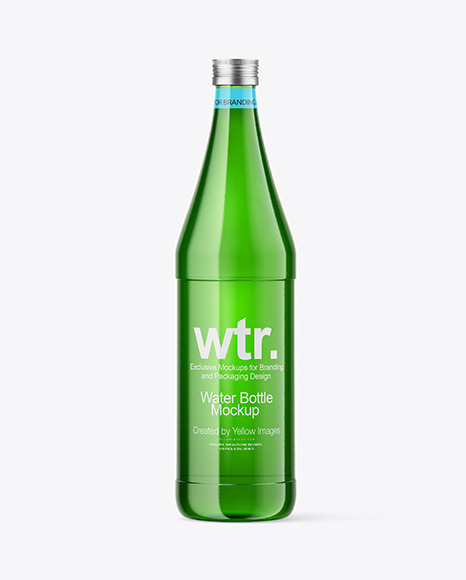 750ml Green Glass Water Bottle Mockup