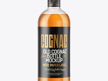 Cognac Bottle with Wooden Cap Mockup