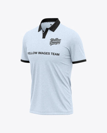 Men's Heather Short Sleeve Polo Shirt - Half Front View