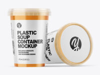 Two Plastic Soup Containers Mockup