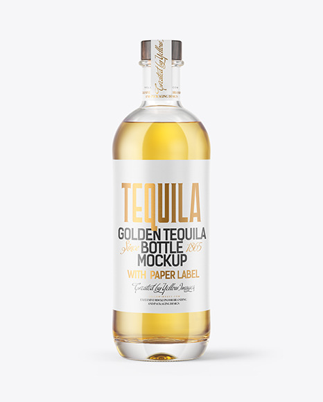 Golden Tequila Bottle with Wooden Cap Mockup