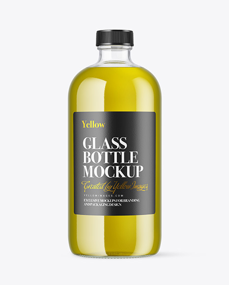 Clear Glass Bottle with Oil Mockup