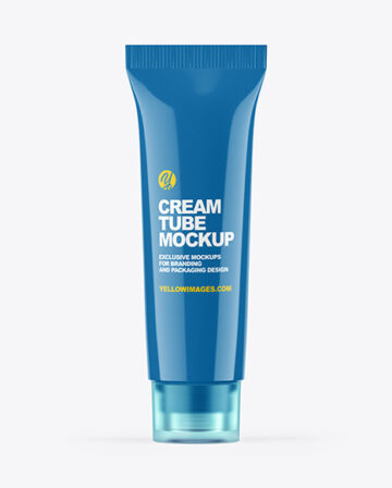 Glossy Cosmetic Tube With Clear Cap Mockup