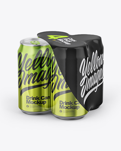 Glossy Metallic Cans in Shrink Wrap Mockup