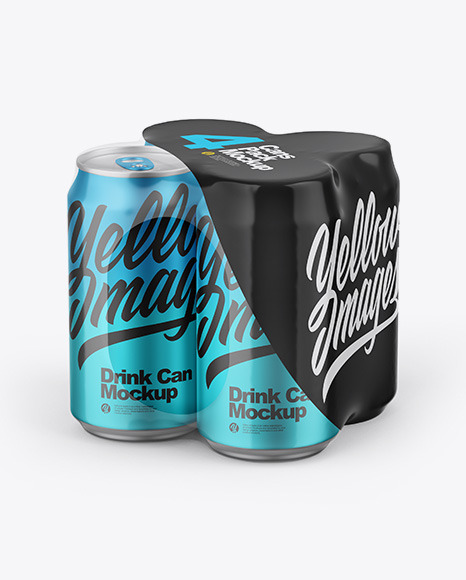 Matte Metallic Cans in Shrink Wrap Mockup