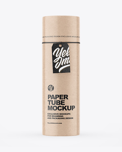 Kraft Paper Tube With Label Mockup