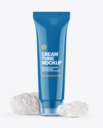 Glossy Cosmetic Tube with Corall Sponges Mockup