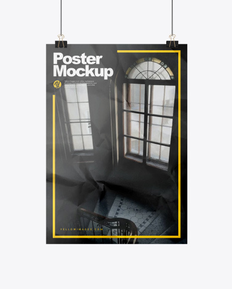 Crumbled A3 Poster with Clip Mockup