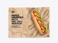 Papper Wrapper With Hot Dog Mockup