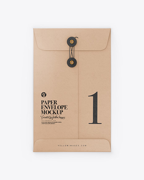 Kraft Paper Envelope With String Mockup