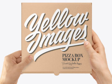 Hands with Mini Kraft PIzza Box Mockup