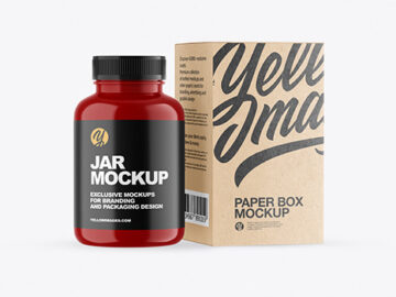 Glossy Plastic Jar with Kraft Box Mockup