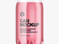 Clear PET Drink Can Mockup