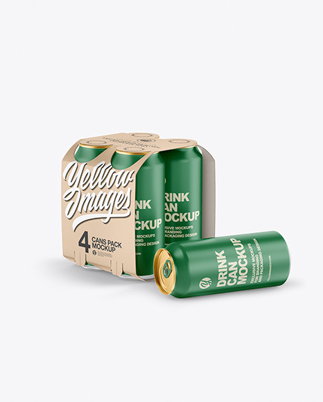 Carton Carrier W/ 4 Matte Cans Mockup