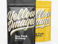 Two Glossy Stand-Up Pouches Mockup