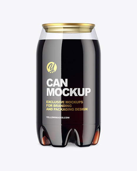 Clear PET Can with Dark Drink Mockup