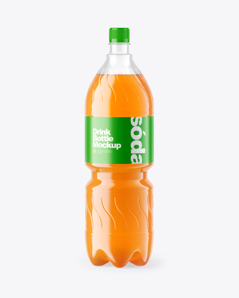 Peach Soft Drink Bottle Mockup