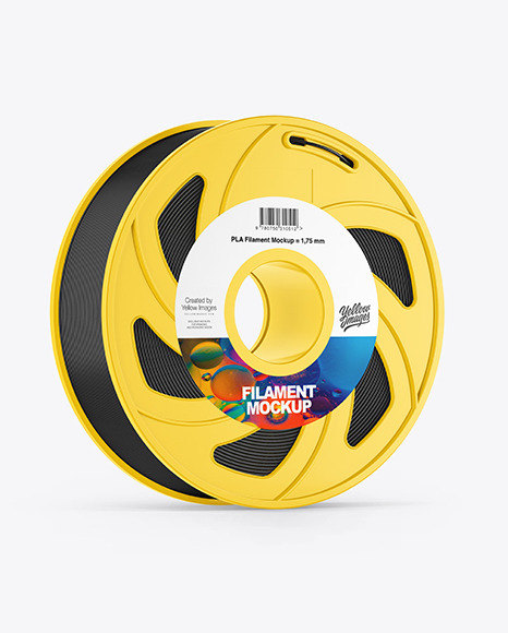 Plastic Filament Spool Mockup - Halfside View