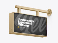 Metallic Rectangular Signboard Mockup