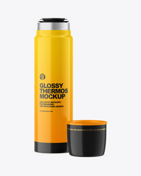 Opened Glossy Thermos Mockup