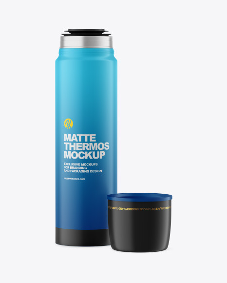 Opened Matte Thermos Mockup