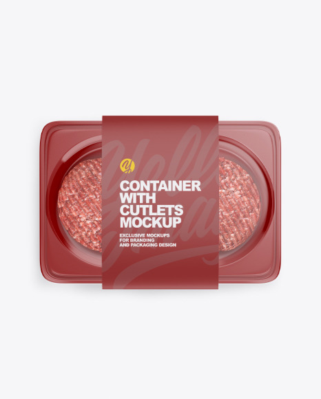 Container with Cutlets Mockup