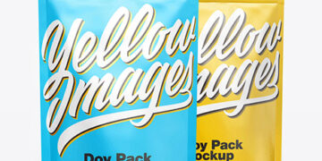 Two Matte Metallic Stand-Up Pouches Mockup