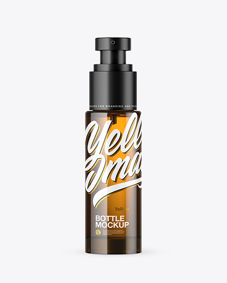 Amber Glass Cosmetic Bottle with Pump Mockup