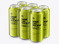 6 Pack Metallic Cans Mockup