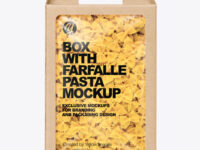 Kraft Box with Farfalle Pasta Mockup