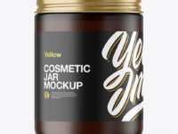 Frosted Amber Cosmetic Jar Mockup