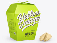Metallic Paper Box w/Fortune Cookies Mockup