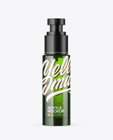 Green Glass Cosmetic Bottle with Pump Mockup