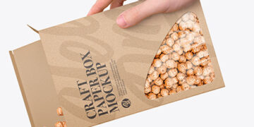 Paper Box With Corn Balls Mockup