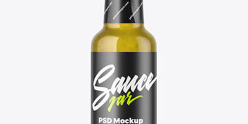 Bottle with Jalapeno Sauce Mockup