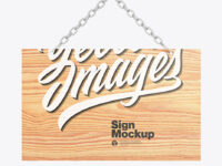 Wooden Sign w/ Metallic Chain Mockup