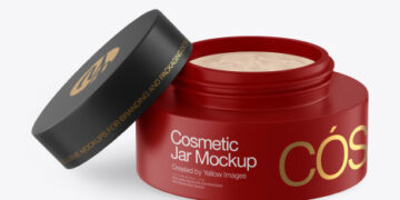 Opened Matte Cosmetic Jar Mockup
