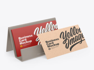 Business Cards w/ Matte Holder Mockup