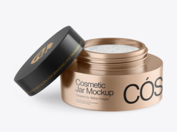 Opened Metallic Cosmetic Jar Mockup