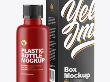 Matte Bottle with Box Mockup