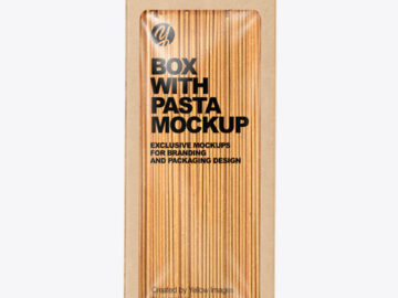 Kraft Box with Spaghetti Pasta Mockup