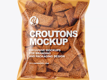Plastic Bag With Croutons Mockup