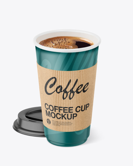 Coffee Cup With Kraft Holder Mockup