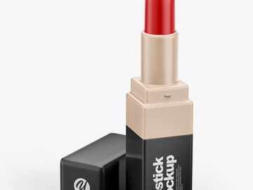 Opened Glossy Square Lipstick Tube Mockup
