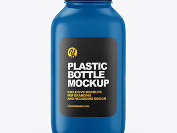 Glossy Square Plastic Bottle Mockup
