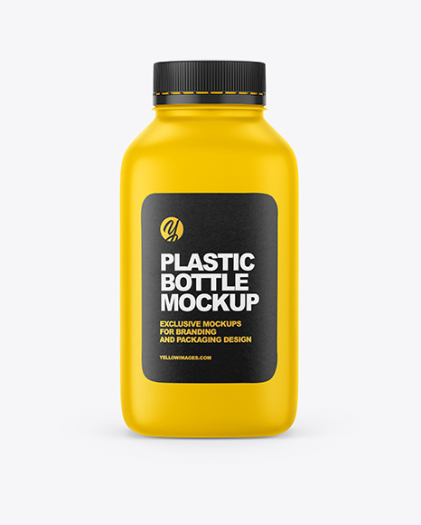 Matte Square Plastic Bottle Mockup