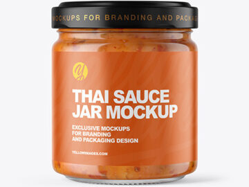 Clear Glass Jar with Sweet Chili Thai Sauce Mockup