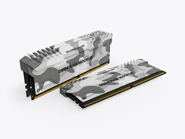 Three Modules of DDR4 RAM Mockup