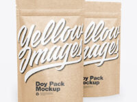 Two Kraft Stand-Up Pouches Mockup